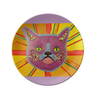 """8.5"""" Decorative Porcelain Plate with Cool Cat"""