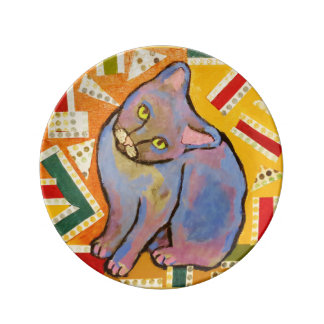 "8.5"" Decorative Porcelain Plate with Cute Cat"