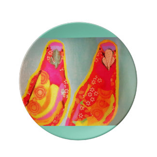 "8.5"" Decorative Porcelain Plate with Two Parrots"