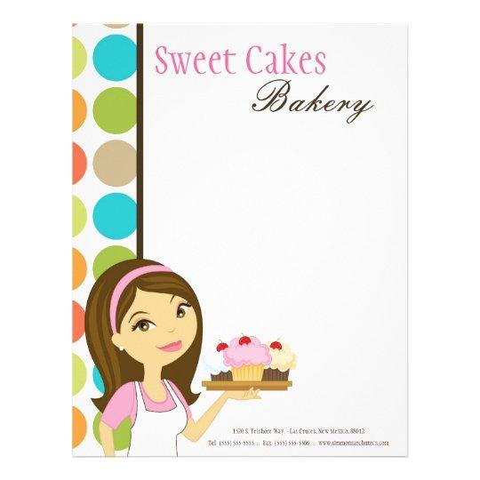 8.5x11 Bakery Brunette Baker Cup Cakes Letter Head Letterhead