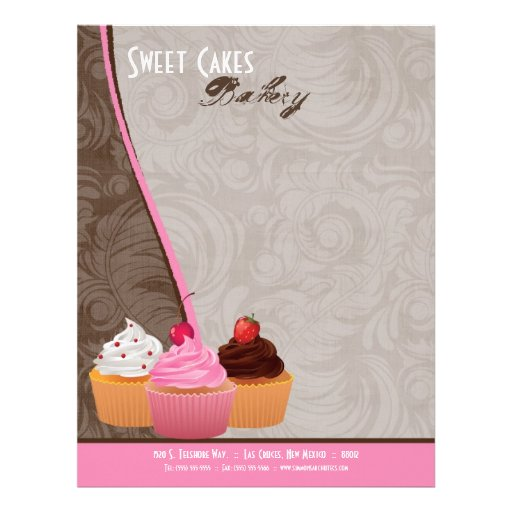 8.5x11 Cup Cakes Bakery Sweet Treats Letter Head Custom Letterhead