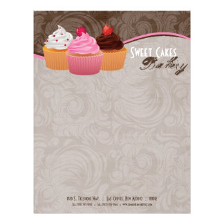 8.5x11 Cup Cakes Bakery Sweet Treats Letter Head Letterhead