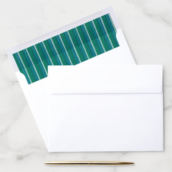 "8.75"" x 6.5"" Envelope Blue & Green Stripe Liner"