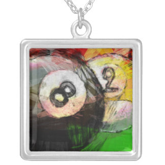 8 and 9 Ball Billiards Abstract Silver Plated Necklace