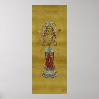 8 Arm Guan Yin Bamboo Background Art Print
