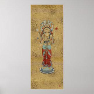 8 Arm Guan Yin Crackle Background Art Print