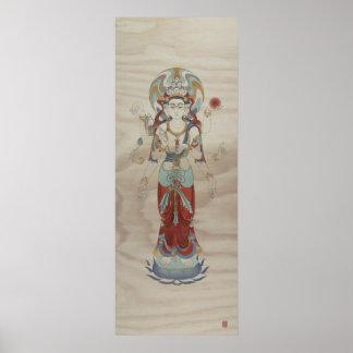 8 Arm Guan Yin Doug Fir Background Art Print