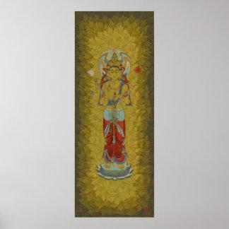 8 Arm Guan Yin Maple Leaf Background Art Print