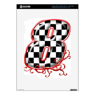 8 auto racing number decal for iPad 3