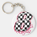 8 auto racing number key chain