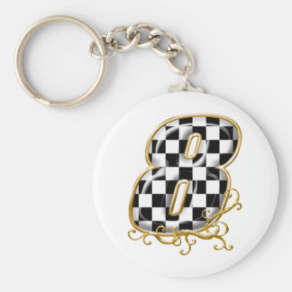 8 auto racing number keychain