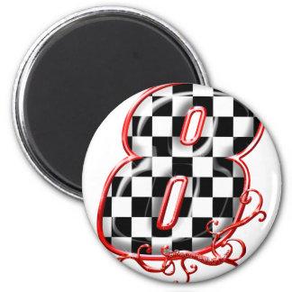 8 auto racing number fridge magnet