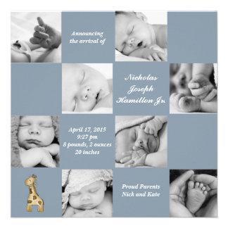 8 azul de fascinación - invitación del nacimiento