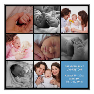 8 baby photo modern collage blue black border poster