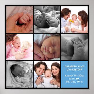 8 baby photo modern collage blue black border poster