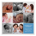 8 baby photo modern collage blue white border poster