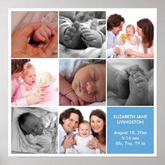 8 baby photo modern collage blue white border poster