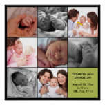 8 baby photo modern collage green black border poster