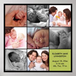 8 baby photo modern collage green black border poster