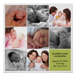 8 baby photo modern collage green white border poster