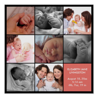 8 baby photo modern collage pink black border poster