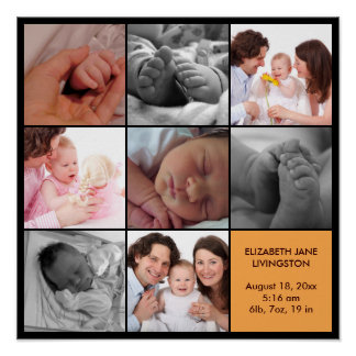 8 baby photo modern collage yellow black border poster