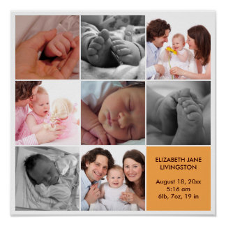 8 baby photo modern collage yellow white border poster