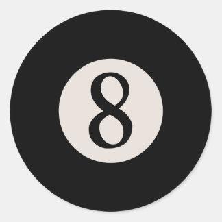 8-Ball 8 Pegatina Redonda