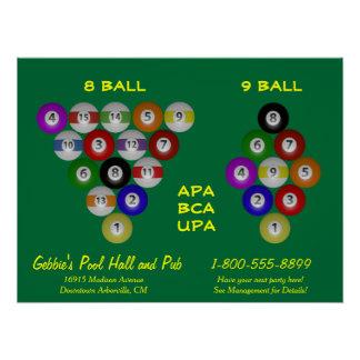 8 Ball 9 Ball Rack Billiard Room Poster