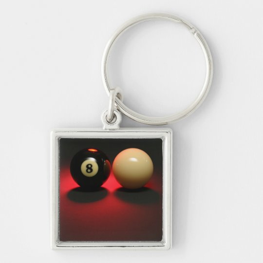 8 Ball and Cue Ball Keychain