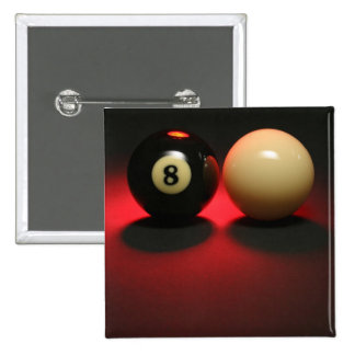 8 Ball and Cue Ball Pinback Button