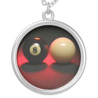 8 Ball and Cue Ball Silver Plated Necklace