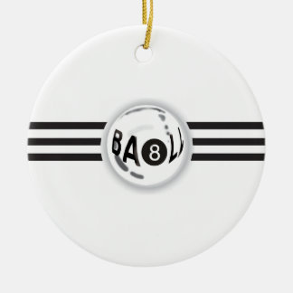 8 Ball Black Stripes Ceramic Ornament