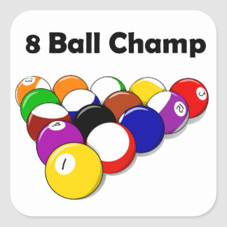 8 Ball Champ Square Stickers