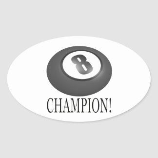 8 Ball Champion Oval Stickers