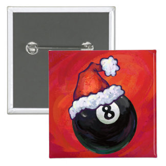 8 Ball Christmas Red Hat Button