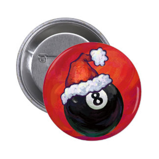 8 Ball Christmas Red Hat Pinback Buttons