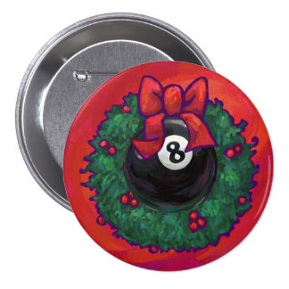 8 Ball Christmas Wheath Red Buttons