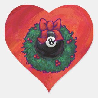 8 Ball Christmas Wheath Red Heart Sticker