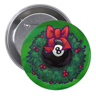 8 Ball Christmas Wreath Green Pinback Buttons