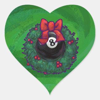 8 Ball Christmas Wreath Green Heart Sticker