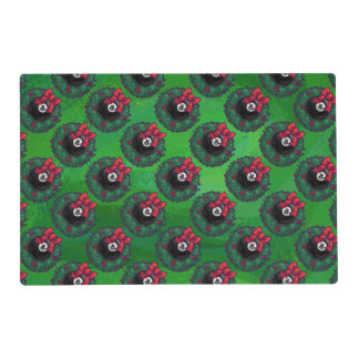 8 Ball Christmas Wreath Placemat