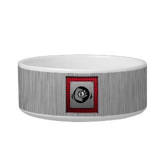 8 ball; Faux Brushed Aluminum; Red Bowl