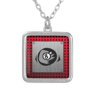 8 ball; Faux Brushed Aluminum; Red Square Pendant Necklace