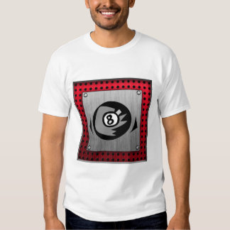 8 ball; Faux Brushed Aluminum; Red T-Shirt