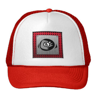 8 ball; Faux Brushed Aluminum; Red Trucker Hat