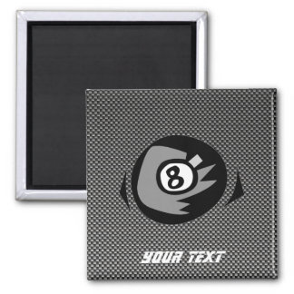 8 ball; Faux Carbon Fiber 2 Inch Square Magnet