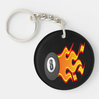 8 Ball Fire Keychain