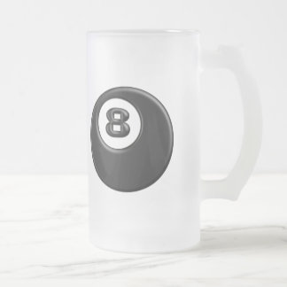 8 BALL FROSTED GLASS BEER MUG