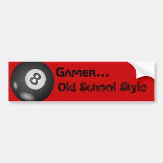 """8 Ball """"Gamer...Old School Style"""" Bumper Stickers"""